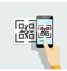 Capture qr code on mobile phone vector