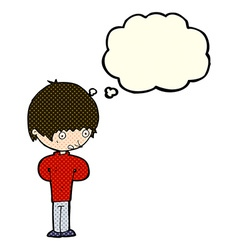 Cartoon nervous boy with thought bubble vector