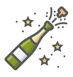 Champagne bottle pop filled outline icon vector