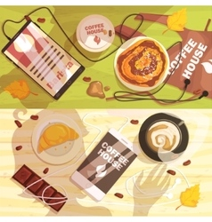Coffee shop table with cups and snacks people vector