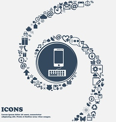 Computer keyboard and smatphone icon in the center vector