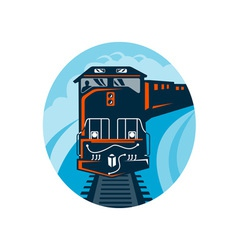 Diesel Train traveling on tracks vector image vector image