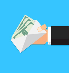 envelope with money cash in hand vector image