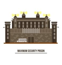 Exterior view on prison buildingjail architecture vector