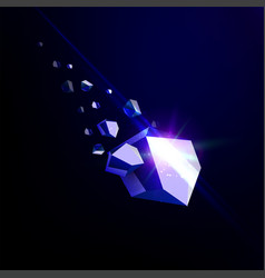 falling beauty stone sapphire space debris blue vector image vector image