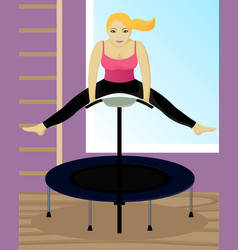 Fitness on trampoline in gym vector