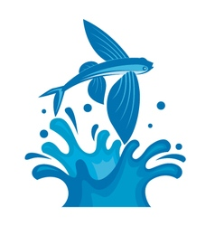 Flying fish on waves vector