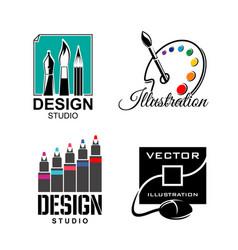 graphic designer or design studio icons vector image