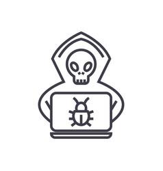 hacker concept thin line icon symbol sign vector image