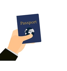Hand holding a passport isolated vector image