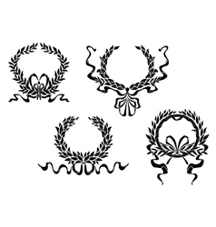 Heraldic laurel wreaths with ribbons vector image vector image
