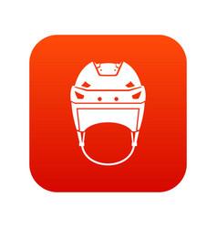 Hockey helmet icon digital red vector