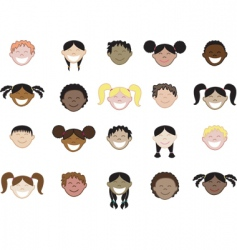 kids face icons vector image vector image