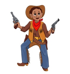 Little boy in the costume of cowboy vector