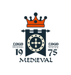 Medieval logo est 1975 vintage badge or label vector