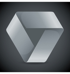 Moebius origami white paper triangle on grey vector image vector image