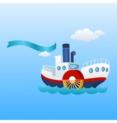 Nautical ship ribbon flag and sea boat vector