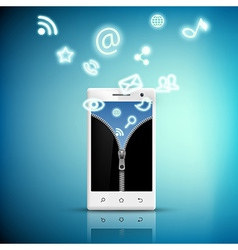 screen smart phone with a picture of a zipper and vector image