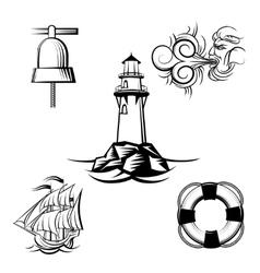 Sea design elements vector