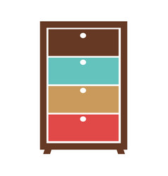 Small commode with colorful boxes vector
