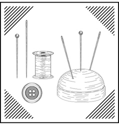 Spool with threads and sewing button vector image