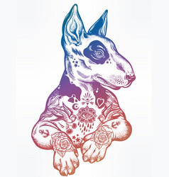 Vintage Style Bull Terrier In Flash Art Tattoos Vector Image - Bull terrier art