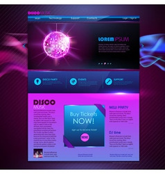 Web site template design disco background vector