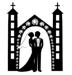 wedding silhouette 8 vector image
