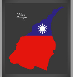 yilan taiwan map with taiwanese national flag vector image vector image