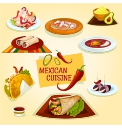 Mexican cuisine taco burrito and tortilla icon vector