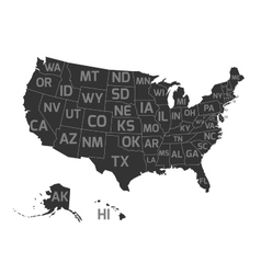 Map of usa with state abbreviations vector