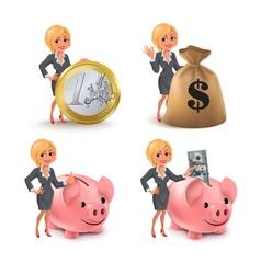 Cartoon blond business woman money vector