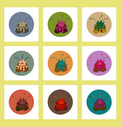Flat icons set of volcano mountain top exploding vector