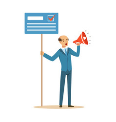 Man holding placard election voting and megaphone vector