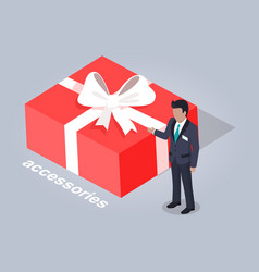 Accessories in big red box with bow vector