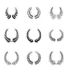 Black laurel wreaths icons set vector