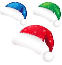 Christmas Color Santa Claus Caps vector image