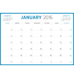 Calendar planner 2016 design template january week vector