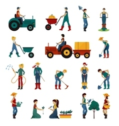 Gardening People Flat Set vector image