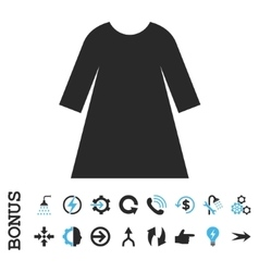 Woman dress flat icon with bonus vector
