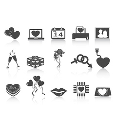 black Valentines day icons vector image