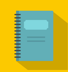 Blue closed spiral notebook icon flat style vector