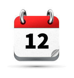 bright realistic icon of calendar with 12 date vector image vector image