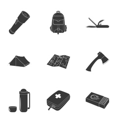 Camping set icons in black style big collection vector