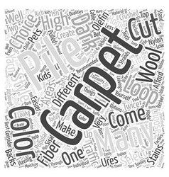 Carpet choices word cloud concept vector