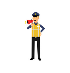 cartoon traffic police officer standing and vector image vector image