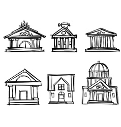 city buildings theaters to draw a pencil vector image