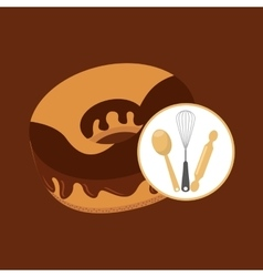 Cookware and donut vector