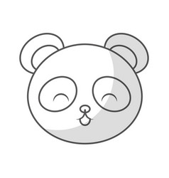 Cute shadow panda bear face vector