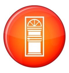 Door with an arched glass icon flat style vector